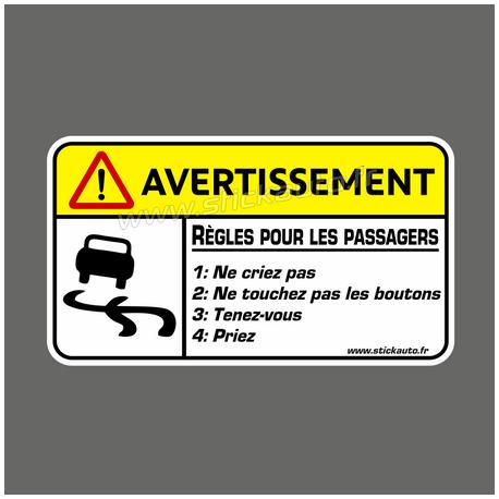 Avertissement Règles pour les passagers