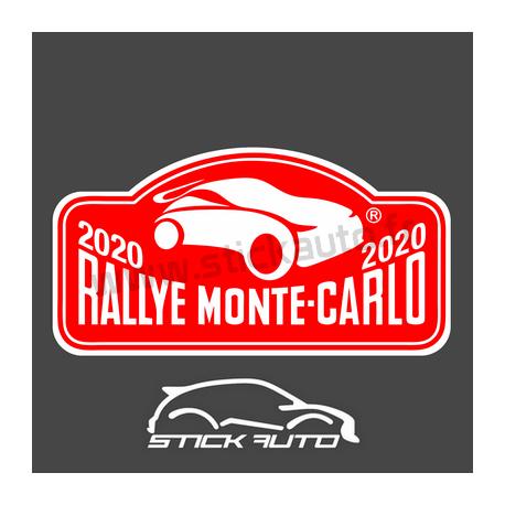 Plaque de Rallye Monte Carlo 2020 en autocollant