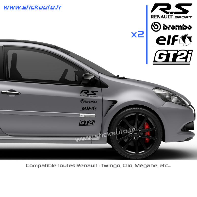 kit 8 stickers rs pack renault sport. Black Bedroom Furniture Sets. Home Design Ideas