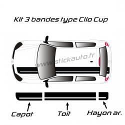 Kit Bandes Renault Sport de toit type Clio Cup
