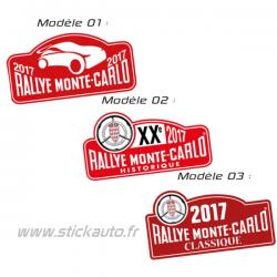 Plaque de Rallye Monte Carlo 2017 en autocollant