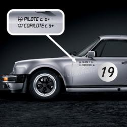 Lettrage Pilote Rallye pour carrosserie petit format
