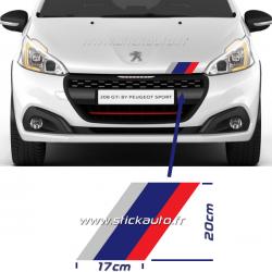 Kit 3 Bandes stickers Peugeot Sport inclinaison droite