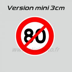 Autocollant 80km/h non 3cm