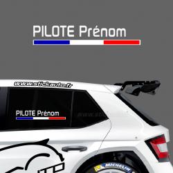 Lettrage Pilote Rallye Type A3