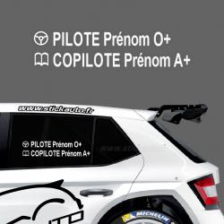 Lettrage Pilote Rallye Type B3