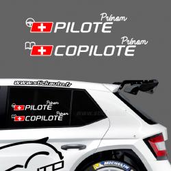 Lettrage Pilote Rallye Type G Suisse