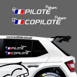 Lettrage Pilote Rallye Type G France
