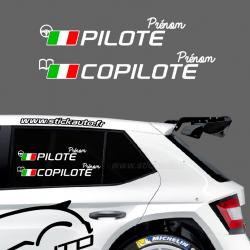 Lettrage Pilote Rallye Type G Italie