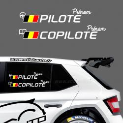 Lettrage Pilote Rallye Type G Belgique