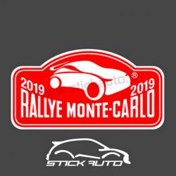 Plaque de Rallye Monte Carlo 2019 en autocollant