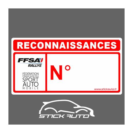 Autocollant Reconnaissances Rallye FFSA