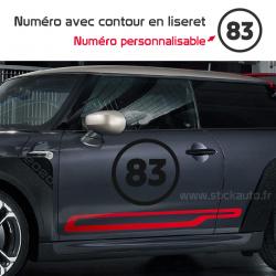 Stickers numéro avec contour en liseret personnalisable