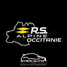 Sticker RS Alpine Occitanie version BLANC logo JAUNE