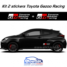 Kit 2 stickers Toyota Gazoo Racing 40cm Blanc
