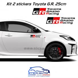 Kit 2 stickers Toyota Gazoo Racing 25cm Noir