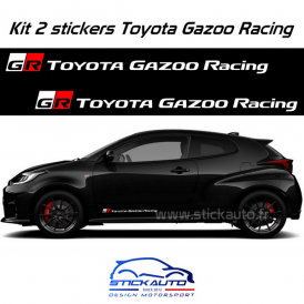 Kit 2 stickers Toyota Gazoo Racing 60cm version long Blanc