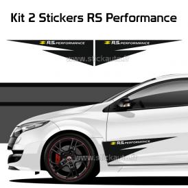Kit 2 Stickers Strip RS Performance Noir et Blanc/Jaune