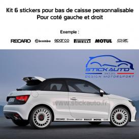 Kit 6 Stickers Sponsors aux choix pour bas de caisse