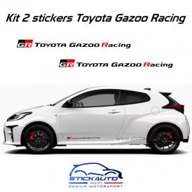 Kit 2 stickers Toyota Gazoo Racing 60cm version long Noir